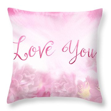 Love You Dark Pink Roses Watercolor Background Throw Pillow
