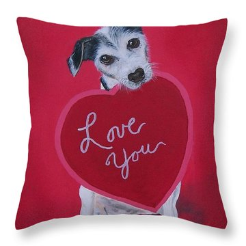 Throw Pillow featuring the painting Love You by Sharon Duguay