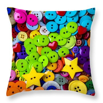 Lovely Buttons Throw Pillow by Garry Gay