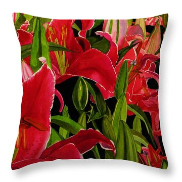 Lovely Lillies Throw Pillow by Debi Singer