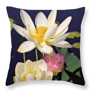 Lovely Lotus Throw Pillow by Katherine White