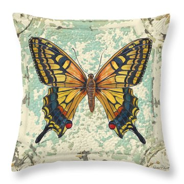 Lovely Yellow Butterfly On Tin Tile Throw Pillow by Jean Plout