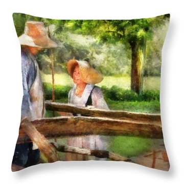 Lover - The Courtship Throw Pillow by Mike Savad