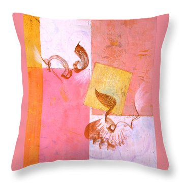 Throw Pillow featuring the painting Lovers Dance 2 In Sienna And Pink  by Asha Carolyn Young