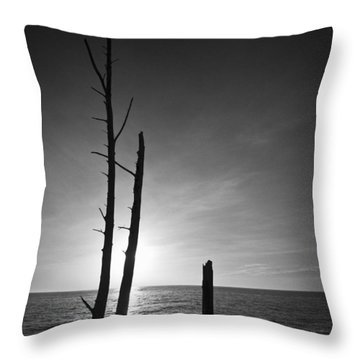 Lovers Key Sunset Black And White One Throw Pillow
