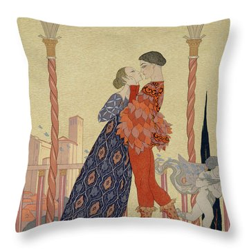 Lovers On A Balcony  Throw Pillow by Georges Barbier