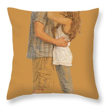 Lovers On The Beach Throw Pillow