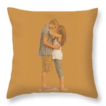 Lovers On The Beach Throw Pillow
