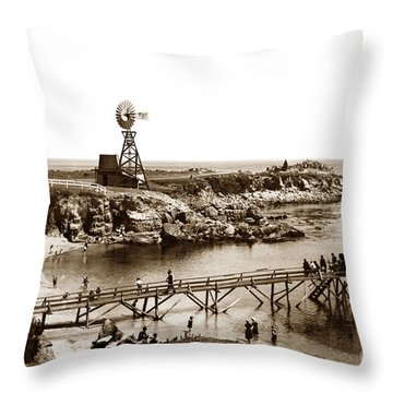 Lovers Point Beach And Old Wooden Pier Pacific Grove August 18 1900 Throw Pillow
