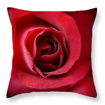 Love's Eternal Red Rose  Throw Pillow by Jennie Marie Schell