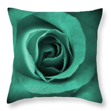 Love's Eternal Teal Green Rose Throw Pillow by Jennie Marie Schell