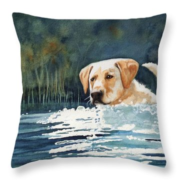 Loves The Water Throw Pillow by Marilyn Jacobson