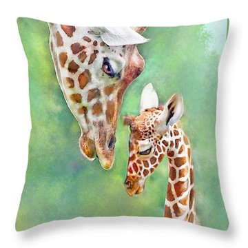 Throw Pillow featuring the digital art Loving Mother Giraffe2 by Jane Schnetlage