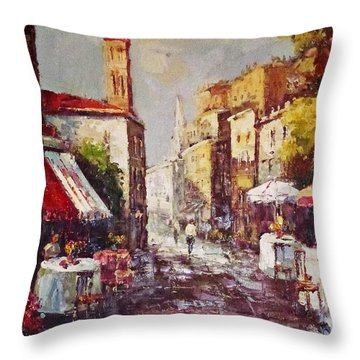 Throw Pillow featuring the painting Loving Old Towns by AmaS Art