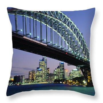 Low Angle View Of A Bridge, Sydney Throw Pillow by Panoramic Images