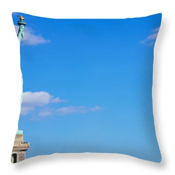 Low Angle View Of A Statue, Statue Throw Pillow