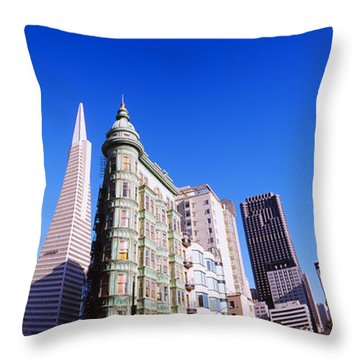 Low Angle View Of Buildings In A City Throw Pillow