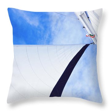 Low Angle View Of Sails On A Sailboat Throw Pillow