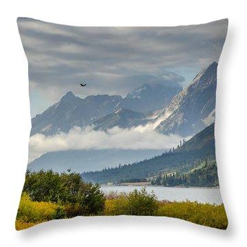Low Clouds On The Teton Mountains Throw Pillow