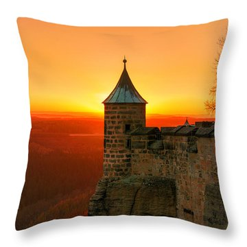 Low Sun On The Fortress Koenigstein Throw Pillow