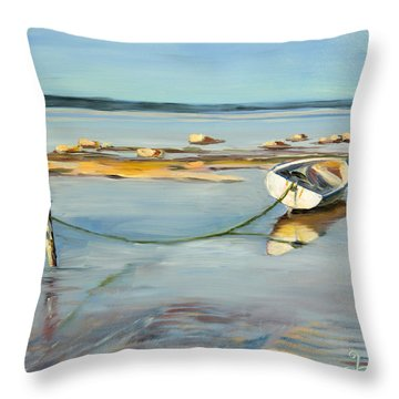 Low Tide Flats Throw Pillow by Trina Teele