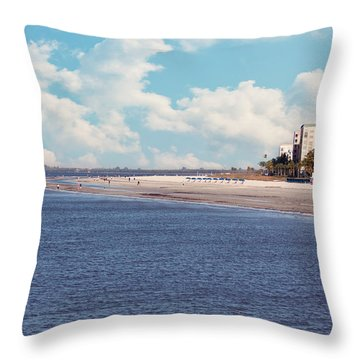 Low Tide - Fort Myers Beach Throw Pillow