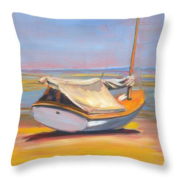 Low Tide Sailboat Throw Pillow by Trina Teele