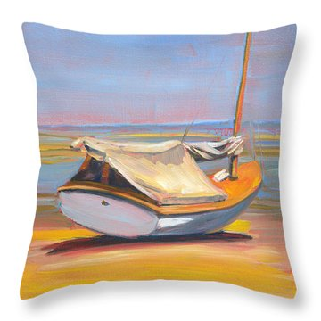 Low Tide Sailboat Throw Pillow