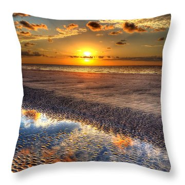 Low Tide Sunrise On Jekyll Island Throw Pillow