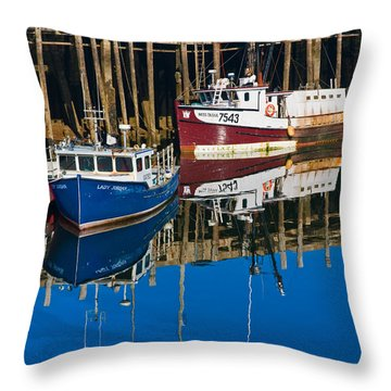 Boats And Reflections At Low Tide On Digby Bay Nova Scotia Throw Pillow