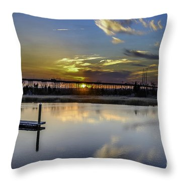 Lowcountry Marina Sunset Throw Pillow