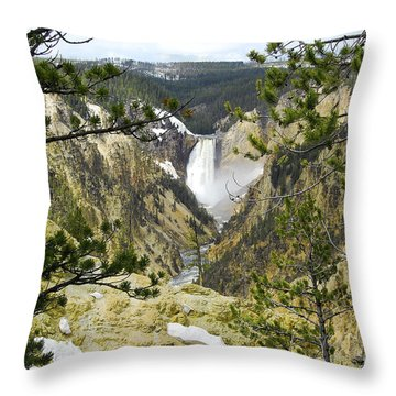 Lower Falls From Artist Point Yellowstone National Park Throw Pillow by Shawn O'Brien
