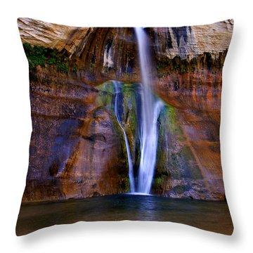 Lower Falls Of Calf Creek Throw Pillow by Carolyn Rauh