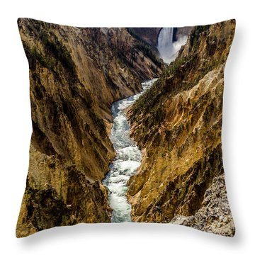 Lower Falls Of Grand Canyon Of Yellowstone Throw Pillow by Debra Martz