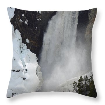 Lower Falls Of The Yellowstone In Spring Throw Pillow by Bruce Gourley