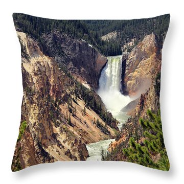 Lower Falls Of Yellowstone Throw Pillow
