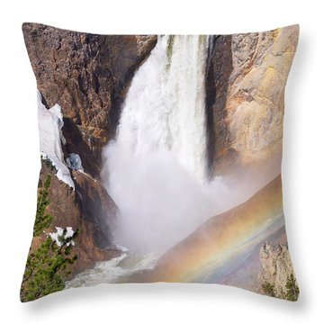 Throw Pillow featuring the photograph Lower Falls With Rainbow - Yellowstone National Park by Aaron Spong