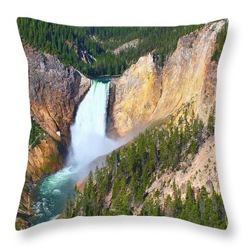 Lower Falls Yellowstone 2 Throw Pillow by Teresa Zieba