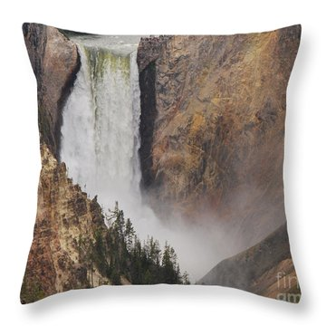 Lower Falls - Yellowstone Throw Pillow by Mary Carol Story