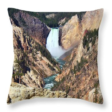 Throw Pillow featuring the photograph Lower Falls Yellowstone by Teresa Zieba