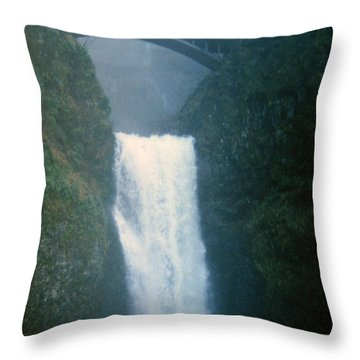 Lower Multnomah Falls Through The Mist Throw Pillow
