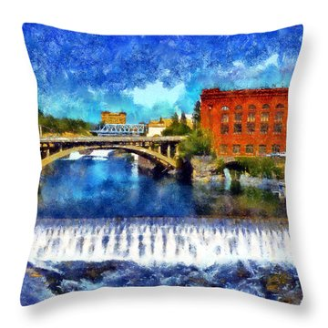 Lower Spokane Falls Throw Pillow