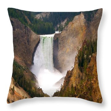 Throw Pillow featuring the photograph Lower Yellowstone Falls by Eric Tressler