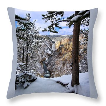 Lower Yellowstone Falls In October Throw Pillow by Robert Woodward