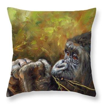 Lowland Gorilla 2 Throw Pillow by David Stribbling