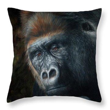 Lowland Gorilla Painting Throw Pillow
