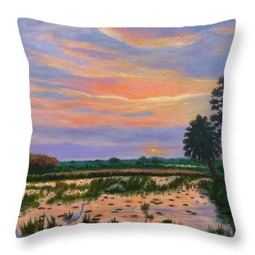 Throw Pillow featuring the painting Loxahatchee Sunset by Karen Zuk Rosenblatt