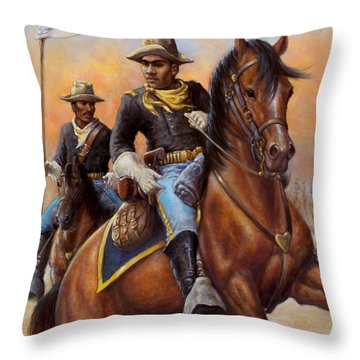 Throw Pillow featuring the painting Lt. Flipper's Command by Harvie Brown