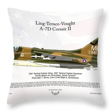 Throw Pillow featuring the digital art Ltv Ling Temco Vought A-7d Corsair II by Arthur Eggers
