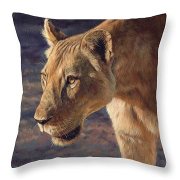 Luangwa Princess  Throw Pillow by David Stribbling
